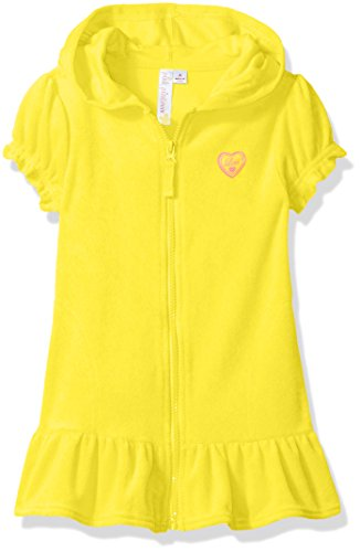 Pink Platinum Big Girls' Hooded Terry Swim Cover Up, Lemon, 7/8