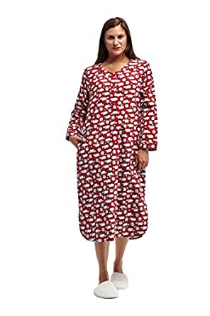 La cera women 39 s flannel nightshirt plus size at amazon for Womens flannel night shirts