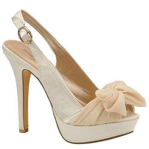 Allure Bridals Women's Sunrise Dress Shoes,Ivory Silk Satin,9 M - Silk Wedding Sandals