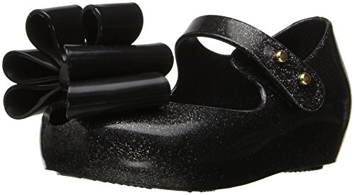 Black Little Mini - Mini Melissa Girls' Mini Ultragirl Sweet III Mary Jane Black Glitter 10 M US Toddler