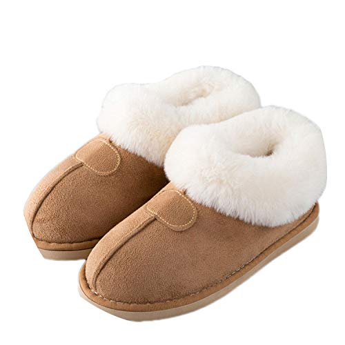 Women Winter Warm Ful Slippers Women Slippers Cotton Sheep Lovers Home Slippers,S19 Khaki,10 (66 Kmart Route)