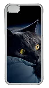 Customized Case Lazy cat PC Transparent for Apple iPhone 5C by icecream design