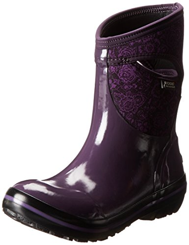 Boot Plum Winter Floral Women's Mid Snow Plimsoll Quilted Bogs xO8Z0Fw