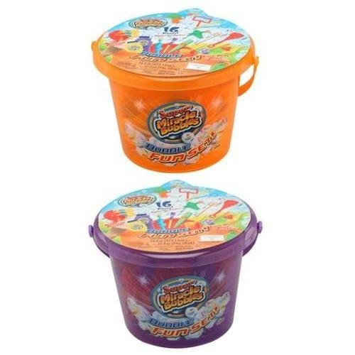 Super Miracle Bubbles 16 Piece Bubble Bucket Fun Set, Colors Vary by Miracle Bubbles