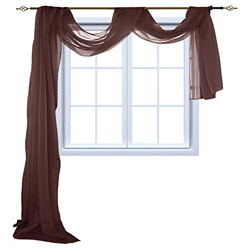 HOLKING Sheer Window Scarf Sheer Voile Curtain for Window Treatment-Add to Window Curtains for Enhanced Effect by, Brown,52 inch Width by 216 inch - Scarves Brown Curtain