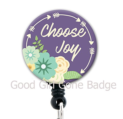 Choose Joy Purple Arrows - Retractable Badge Reel With Swivel Clip and Extra-Long 34 inch cord - Badge Holder
