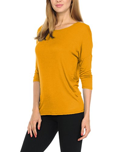 bluensquare Women T-Shirts Soft Rayon Jersey Top - 3/4 Dolman Sleeves, 5 Sizes(S-XXL) (Medium, Mustard)