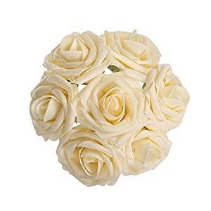 Carreking Artificial Flowers Roses 75pcs Real Looking Cream Fake Roses DIY Wedding Bouquets Shower Party Home Decorations Arrangements Party Home Decorations (Cream) 20