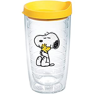 Tervis 1140867 Peanuts - Felt Tumbler with Emblem and Yellow Lid 16oz, Clear