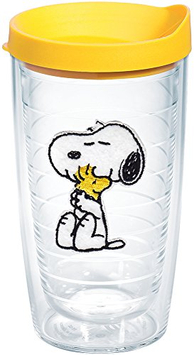 Tervis 1140867 Peanuts - Felt Tumbler with Emblem and Yellow Lid 16oz, Clear]()