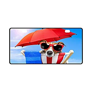 11.8 X 6.1 inches Durable License Plate Frame Metal Personalized Car Tag, Summer Puppy Dogs Beach with Sunglasses (2 Holes)