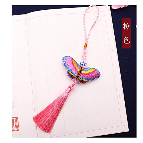 (GOUDEDE TeacherAppreciationGifts Bookmark Butterfly Small Chinese Knot Pendant Ornaments Dragon Boat Festival Creative Sachet Jewelry Chinese Style to Send foreigners Gifts,Pink )