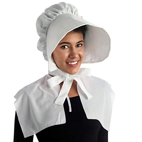 [Pilgrim Bonnet White Hat Party Costume (1/pkg) Pkg/1] (Bo Peep Costumes Adults)