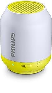 Philips BT50 - Altavoz portátil con Bluetooth (2 Watt, diseño compacto, batería recargable integrada), gris y lima