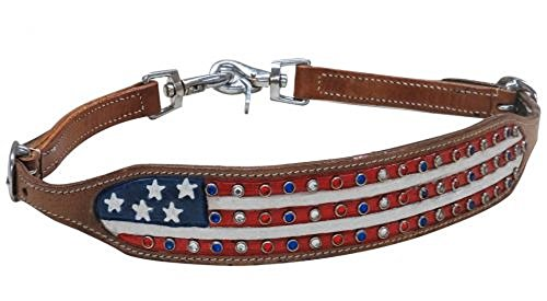 Showman Adjustable Medium Leather Hand Painted American Flag Crystal Rhinestone Studs Wither Strap 2 Trigger Snaps ()