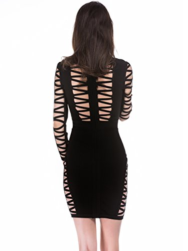 out Club Mujer Bandage Rayon Mujers Elmer Alice Party amp; Long Dress Cut para Sleeve Bodycon Vestido Negro Vestido Wzc1c0Pnax