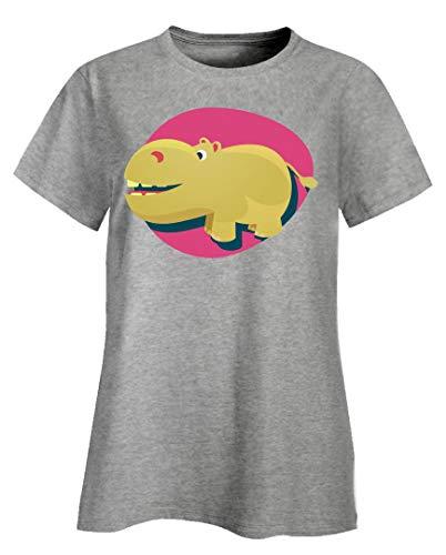 Peyton Winks Wildlife Adventures - Cute & Funny Hippo - Ladies T-Shirt Ash Grey