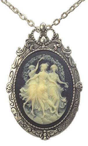 ViciBeads Three Muses (Graces) Faith Hope Charity Classical Greek Cameo Brooch Pendant+ Free Chain Bag