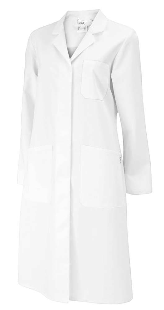 Bata de laboratorio para mujer, largo hasta la rodilla, algodón, color blanco, talla 42: Amazon.es: Industria, empresas y ciencia