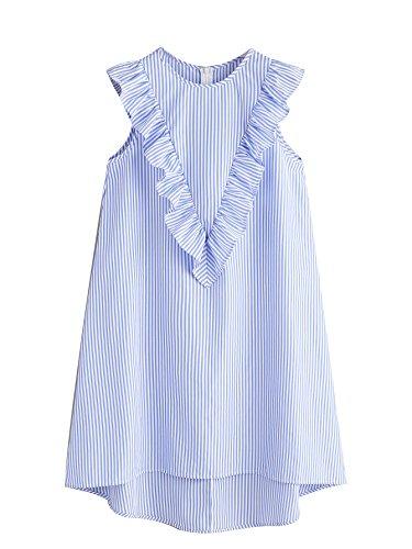 (Floerns Women's Vertical Striped Ruffle Front Tunic Dress XL)