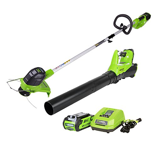 affordable GreenWorks G-MAX 40V Cordless String Trimmer and Leaf Blower Combo Pack STBA40B210