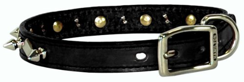 "Hamilton 1"" x 24"" Black Leather with Spikes and Diamond Pattern Dog Collar"