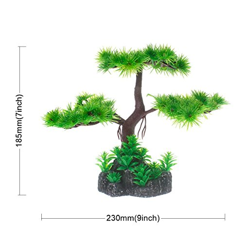 Image of Saim Artificial Pine Tree Plastic Plant Decor for Aquarium Fish Tank Bonsai Ornament Red Green 7