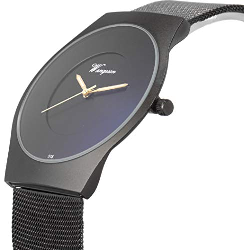 SIBOSUN Minimalist Wrist Watch Men Ultra-Thin Mesh Stainless Steel Band Japanese Quartz Waterproof ()