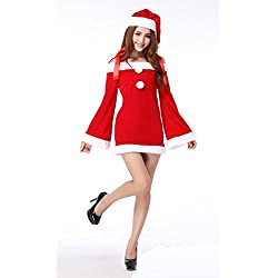 MITIAO Miss Santa Suit Party Costume Catwomen Bunny cosplay Long Sleeve Red