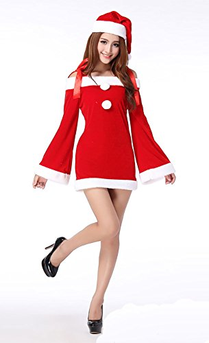 MITIAO Miss Santa Suit Party Costume Catwomen Bunny cosplay Long Sleeve Red - Catwomen Outfits