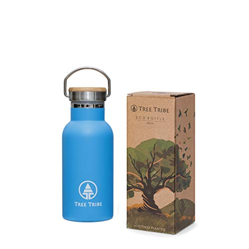 Bamboo Tree Blue (Tree Tribe Stainless Steel Blue Water Bottle 12 oz - Indestructible, BPA Free, 100% Leak Proof, Eco Friendly, Double Wall Insulated Technology for Hot and Cold Drinks, Wide Mouth, Bamboo Cap)