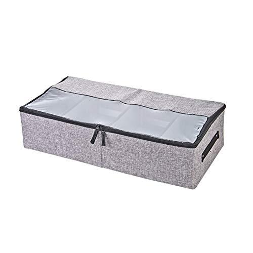 PING.FUE Transparent Washable Clothes Box Wardrobe Closet Organizer Linen Cotton Storage Bag Shoes Cabinet Under Bed Organizador Light Gray