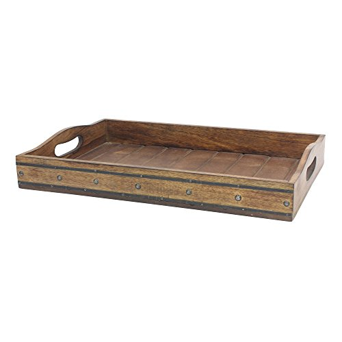 Stonebriar Rectangle Natural Wood Serving Tray with Black Metal Trim and Rivet Detail, Rustic Butler Tray, Unique Serving Tray, Centerpiece for Coffee Table, or Candle Holder