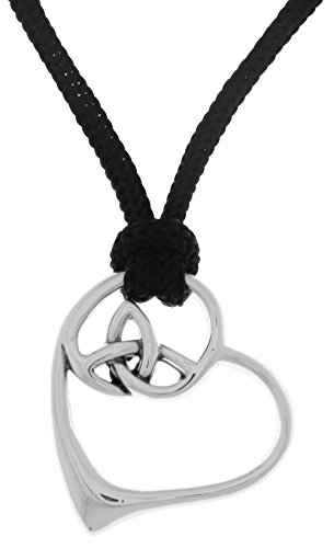- Jewelry Trends Celtic Trinity Knot Heart Sterling Silver Pendant Necklace Adjustable Nylon Cord