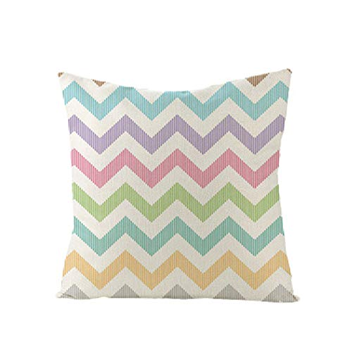 GTQC 2 Packs, Classic Minimalist Geometric Pillowcase Linen Office Cushion Lumbar Pillowcase Square Pillowcase JYM011-31 4545cm(Without Pillow)