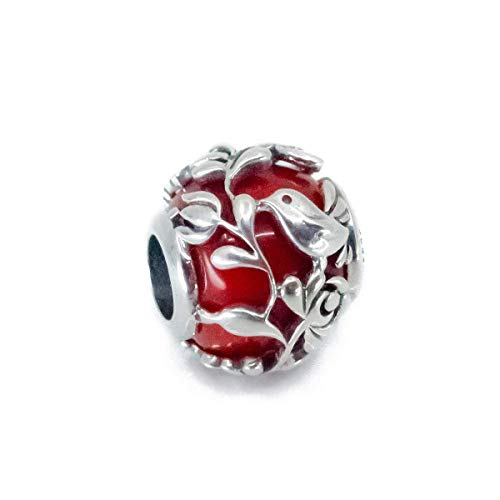 Lover's Song - Red Charm Bead, Aurora Red Murano Glass & Sterling Silver Charm S925, pendant necklace, Love Lovebird Lovebirds Jewellery, Love charm, Pandora compatible (Pandora Charm Lovebird)