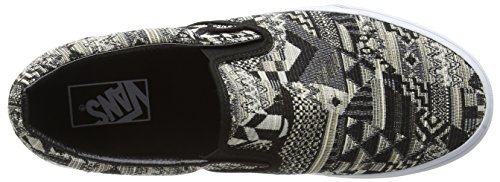 Vans Classic Slip-On, Zapatillas Unisex Adulto Negro (Italian Weave white/black)