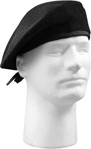 Black Military Wool Beret No (Cobra Caps Cotton Headband)