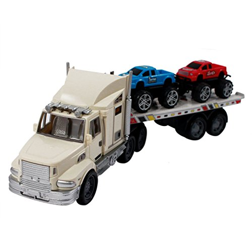 Big Rig Auto Hauler Semi Truck 4x4 Diecast Toy Vehicle with Monster Trucks