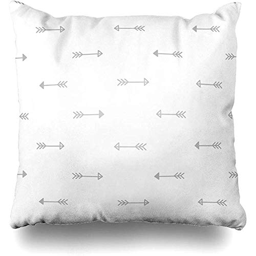 (Throw Pillow Cover White Abstract Tribal Arrows Sketch Baby Bibs Body Color Cute Cushion Case Home Decor Square Size 18 x 18 Inches Design Pillowcase )