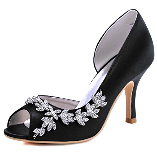 ElegantPark HP1542 Women Peep Toe Rhinestones Pumps High Heel Satin Wedding Bridal Dress Shoes Black US 10