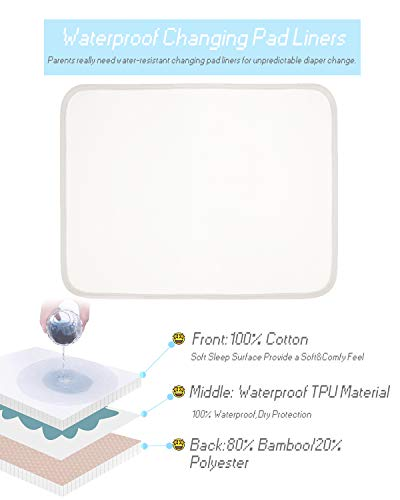 Babebay Changing Pad Cover - 100% Ultra-Soft Combed Cotton Changing Table Cover, 2 Pack Breathable Diaper Changing Pad Covers + 1 Pack Waterproof Changing Pad Liners - for Boys and Girls