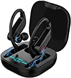 Wireless Earbuds: True Mini Bluetooth Best TWS Stereo with Hook Charging Case Mic in Ear Earphones Twins Truly Sport Headphones Headset Sweatproof Gym Running Jogging Workout All Smart Phones Tablets