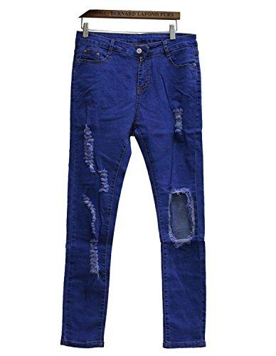 Burvogue Mujer Azul Denim Jeans Skinny pantalones de envejecido Blue 2