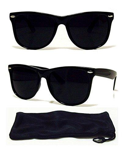 Dark BLACK Lens Sunglasses Vintage Retro Aviator Men Women Classic Frame - Ansi 3 Z80