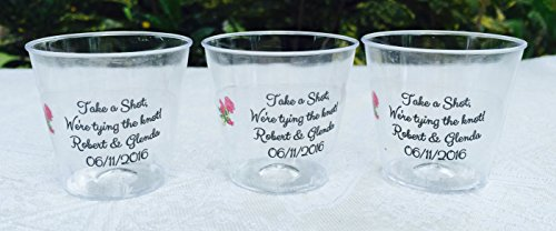 50 PERSONALIZED 1oz. PLASTIC SHOT Cups for Bar at Wedding, or any Party/Event, CLEAR DECORATION, Disposable cups makes great party favors or supply!