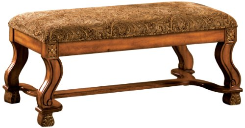 - Furniture of America Valencia Fabric Accent Bench, Antique Oak