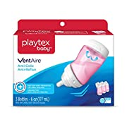 Playtex Baby Ventaire Anti Colic Baby Bottle, BPA Free, Pink, 6 Ounce - 3 Pack
