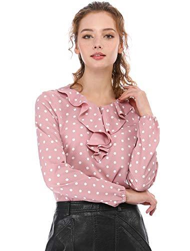 Allegra K Women's Ruffle Neck Long Sleeve Vintage Polka Dots Tunics Blouse Shirt Pink S (US 6)