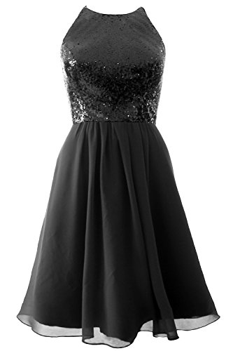 Party MACloth Schwarz Dress Bridesmaid Formal Vintage Short Gown Sequin Halter Chiffon HqnqTFWfc